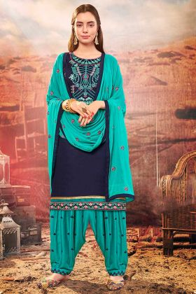 Thread Embroidery Work Navy Blue Color Cotton Silk Punjabi Salwar Kameez
