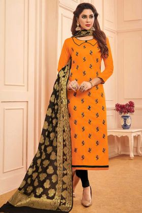 Thread Embroidery Work Orange Color Cotton Dress Material With Banarasi Silk Fabric Dupatta