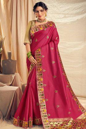 Thread Embroidery Work Pink Color Satin Silk Designer Saree