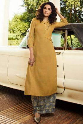 Thread Embroidery Work Rayon Stylish Kurti Light Mustard Color With Palazzo