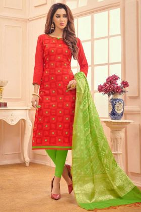 Thread Embroidery Work Red Color Cotton Churidar Salwar Kameez