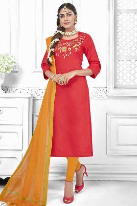 Thread Embroidery Work Red Color Cotton Slub Churidar Dress