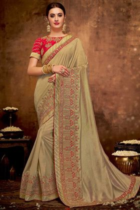 Thread Embroidery Work Silk Georgette Saree In Brown Color