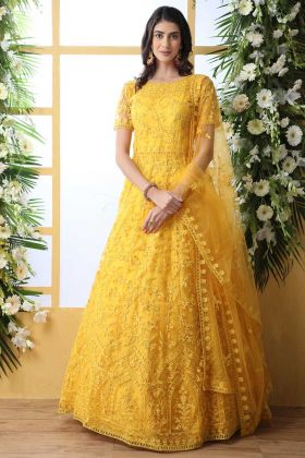 Thread Embroidery Work Yellow Color Net Anarkali Style Gown