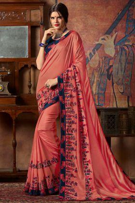 Thread Silk Embroidery Work Peach Color Vichitra Silk Designer Saree