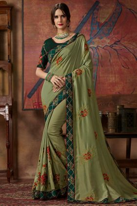 Thread Silk Embroidery Work Vichitra Silk Party Wear Saree In Olive Green Color