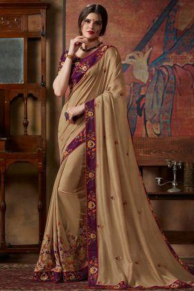Thread Silk Embroidery Work Vichitra Silk Saree In Beige Color