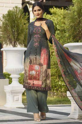 Thread Work Grey Color Casual Salwar Kameez
