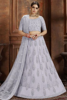 Thread Work Grey Color Soft Net Lehenga Choli
