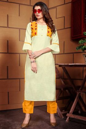 Thread Work Light Yellow Color Linen Kurti Set