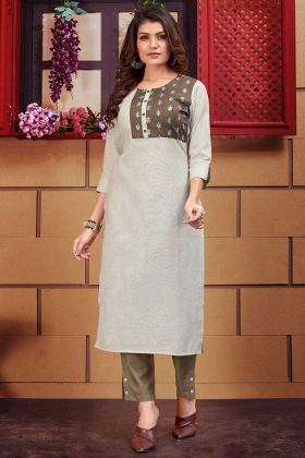 Thread Work Linen Designer Kurti In Light Grey Color