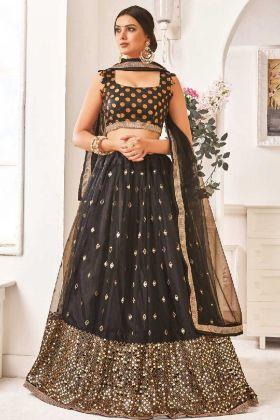 Thread Work Mono Net Wedding Lehenga Choli In Black Color