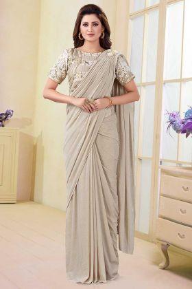 Thread Work Off White Color Satin Lycra and Silk Wedding Saree