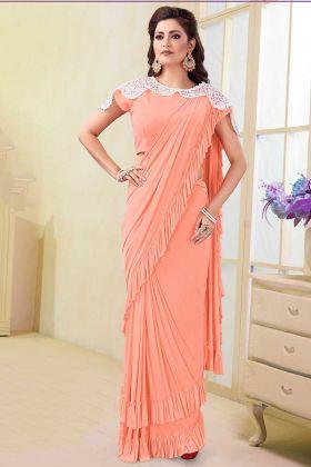 Thread Work Peach Color Satin Lycra and Silk Fancy Saree
