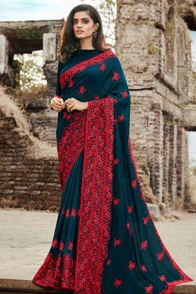 Thread Work Teal Blue Color Soft Silk Wedding Saree