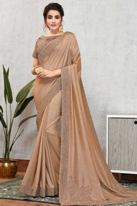 Thread Work Tussar Silk Partywear Saree Brown Color