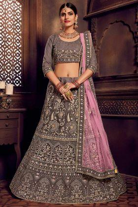Thread Zari Net Fabric Wedding Lehenga Semi Stitched Grey Color