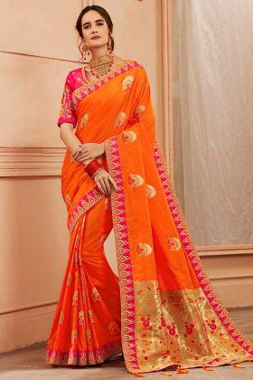 Thread Zari Work Orange Color Heavy Banarasi Silk Banarasi Saree