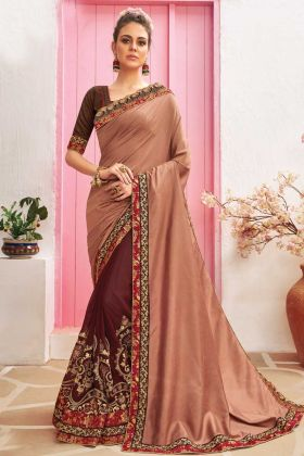 Thrilling Brown Color Chanderi Silk Fabric Party Wear Saree