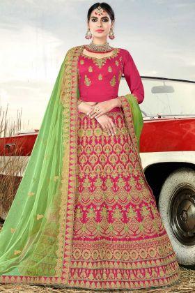 Nylon Satin Designer Bridal Lehenga Choli Pink Color With Stone Work