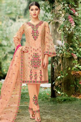 Tissue Peach Pakistani Salwar Suit