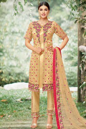 Tissue Yellow Pakistani Salwar Suit
