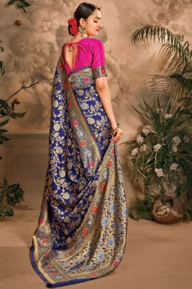 Traditional Art Silk Blue Color Unique Wedding Saree