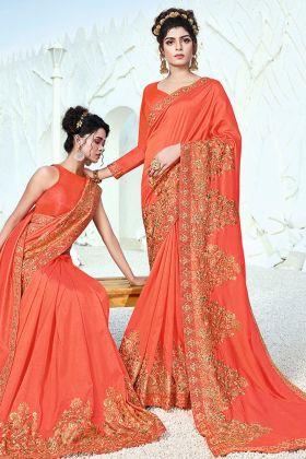 Traditional Designer Orange Art Silk Embroidery Saree