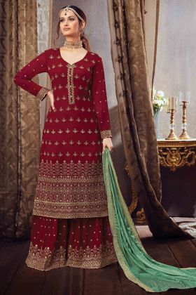 Traditional Heavy Embroidered Pure Georgette Maroon Color Dress