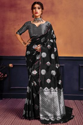Traditional Hot Black Color Beautiful Designer Lichi Silk Saree