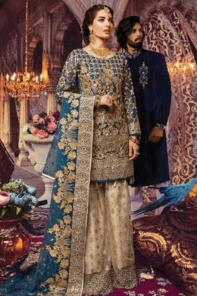 Traditional Looking Designer Georgette Teal Blue Sharara Suit