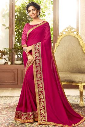 Traditional Looking Rani Pink Chanderi Silk Saree By Online