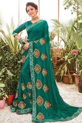 Traditional Rama Color Chanderi Silk Party Wear Saree