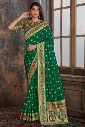 Traditional Saree Green Color Banarasi Silk