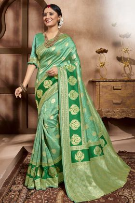 Traditional Saree Look With Green Color Cotton Silk