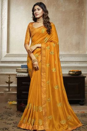 Traditional Saree Soft Art Silk In Mustard Yellow Color