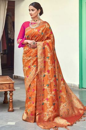 Traditional Silk Saree Orange Color