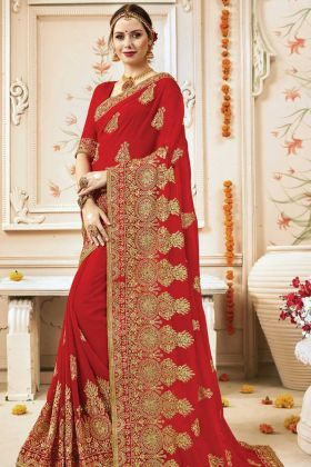 Traditional Style Georgette Red Saree
