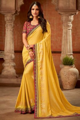 Traditional Fancy Saree With Jacquard Silk Yellow Color