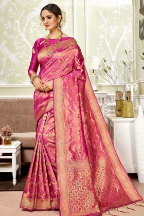 Traditional Look Banarasi Art Silk Saree With Weaving Work Rani Pink Color