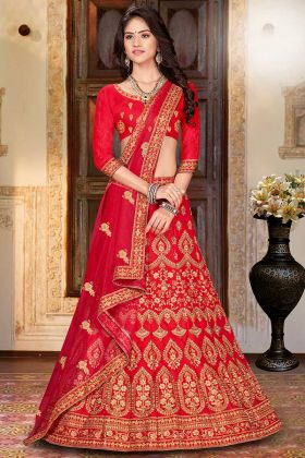 Traditional Look With Satin Silk Wedding Lehenga Choli With Net Dupatta
