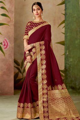 Traditional Maroon Silk Saree Online