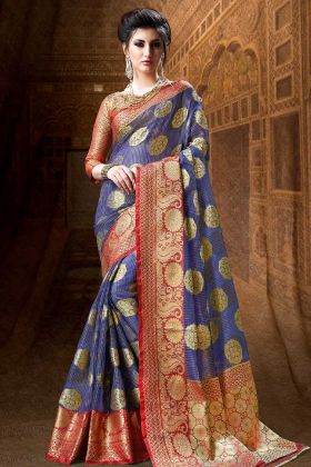 Traditional Weaving Work Designer Indian Sari