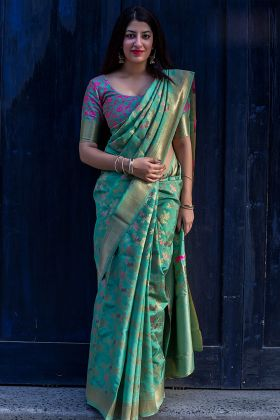 Traditional Wedding Wear Banarasi Silk Cyan Green Saree With Heavy Work