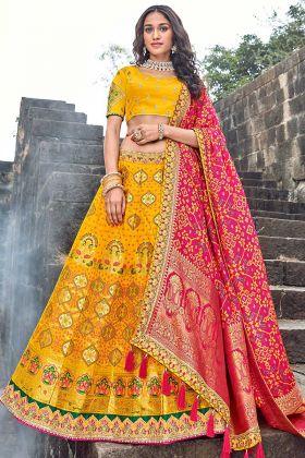 Traditional Yellow Color Bridal Lehenga Choli With Silk Dupatta