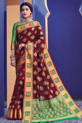 Trending Maroon Color Banarasi Silk Saree For Party Wear