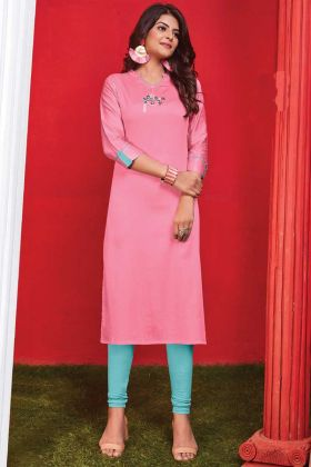 Trending Pink Color Cotton Thread Embroidery Readymade Kurti