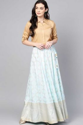 Trending Beige Color Shirt Poly Silk Pair With Baby Blue Color Skirt