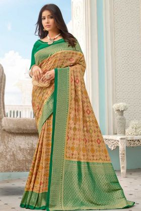 Trendy Beige Color Handloom Silk Weaving Saree For Festive