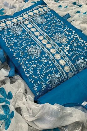 Trendy Blue Color Fancy Embroidered Dress Material In India